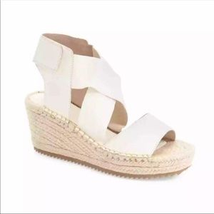 Eileen Fisher White Leather Espadrille Wedge Shoe